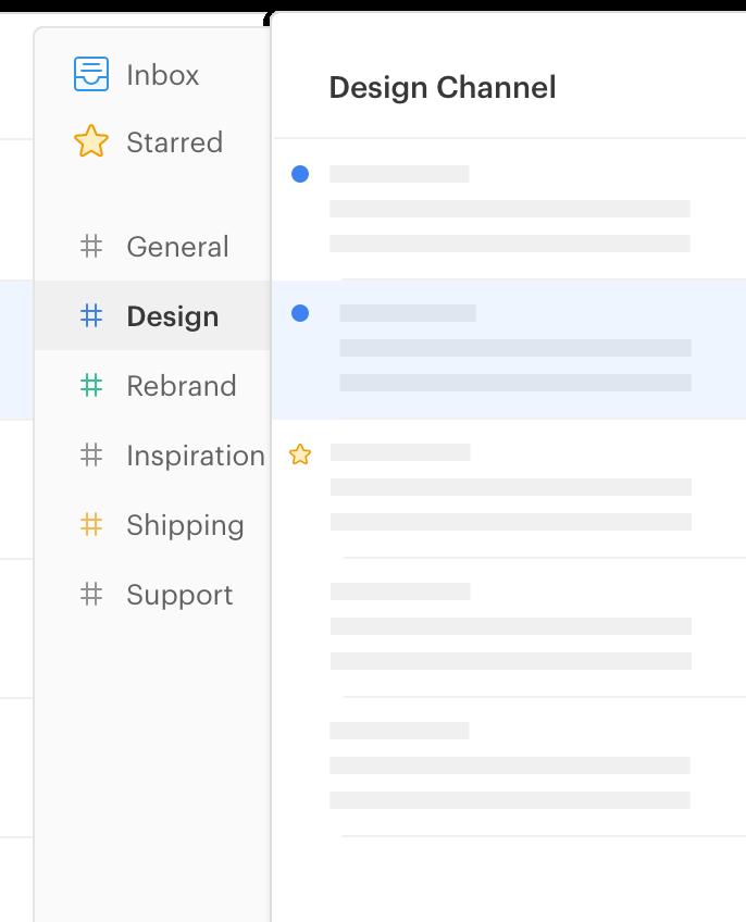 interfaz de usuario de la aplicación de twist mostrando canales
