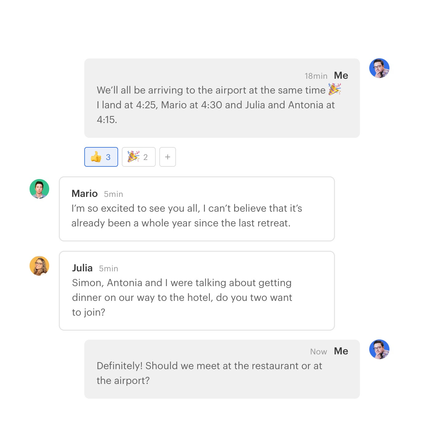 twist app user interface showing messages