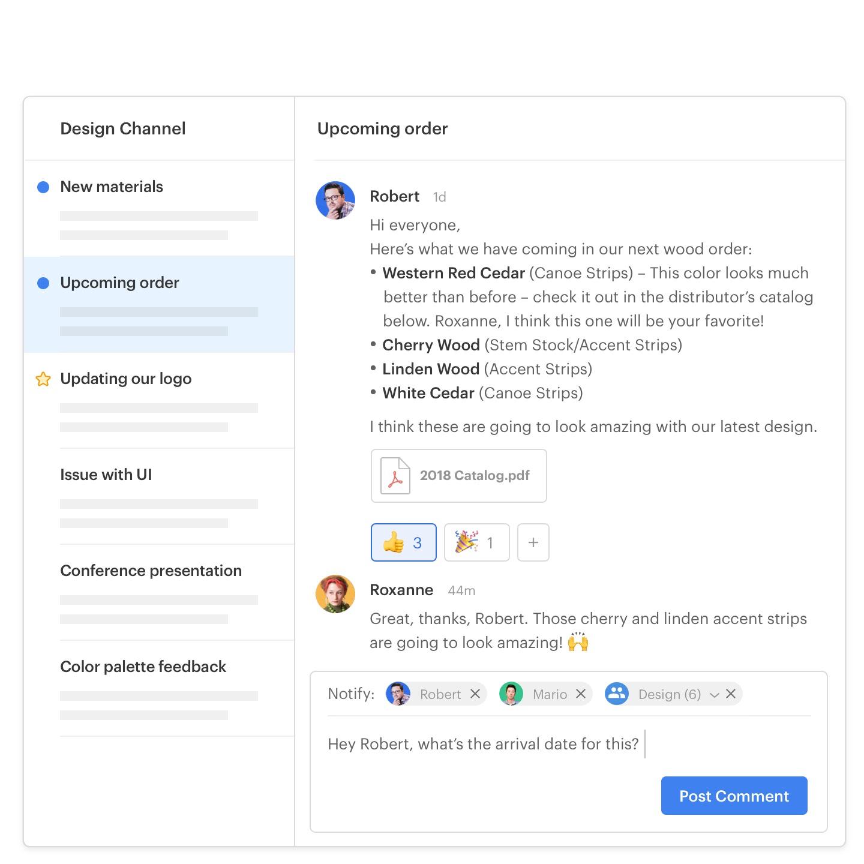 interfaz de usuario de la aplicación de twist mostrando temas